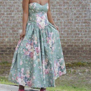 Vintage SG Gilbert Dress Floral Maxi Size Small
